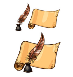 old ink quill feather pen and manuscript vector image vector image