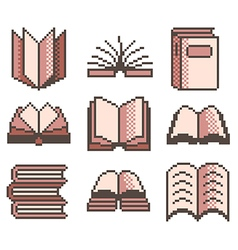 Pixel books for games icons set vector image