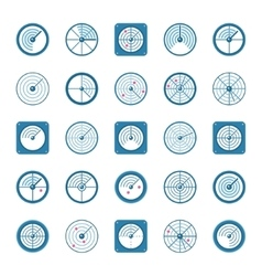 Radar flat icons set vector image vector image