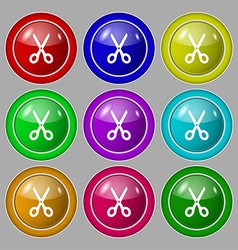 Scissors icon sign symbol on nine round colourful vector image