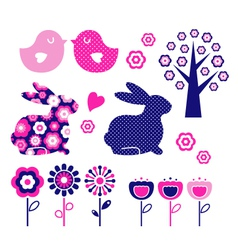 spring and easter design elements vector image vector image