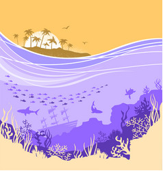 underwater sea background with tropical island vector image