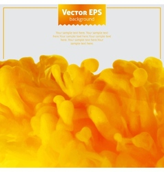 Yellow ink cloud in water abstract background vector image vector image