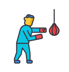 boxing flat line concept vector image