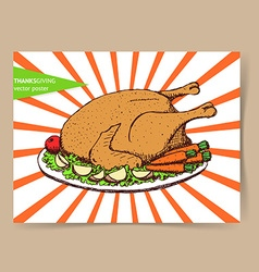 Sketch roasted turkey vector image vector image