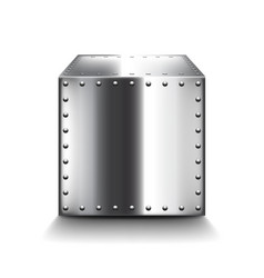 steel box isolated on white vector image vector image
