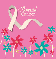 breast cancer ribbon flower and pink background vector image