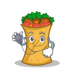 doctor kebab wrap character cartoon vector image vector image