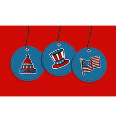 Hanging patriotic US badges vector image vector image