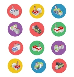 Isometric Building Factory Icons with Shadow - vector image vector image