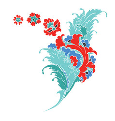 iznik style floral drawing vector image vector image