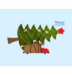 Truck carries Christmas tree Car and decorated vector image