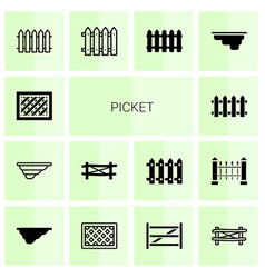 14 picket icons vector image