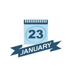 23 january calendar with ribbon vector