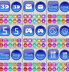 3D Message Love Five Gamepad Countdown Stop Finish vector
