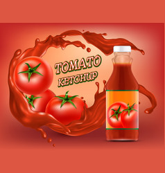 3d realistic poster of tomato ketchup vector