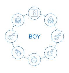 8 boy icons vector