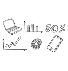A laptop graph phone and other symbols vector image