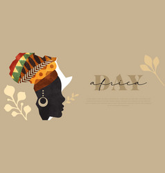 Africa day web banner black woman face map vector