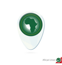 African union flag location map pin icon on white vector