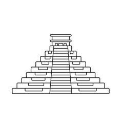 Ancient el castillo pyramid line art icon vector