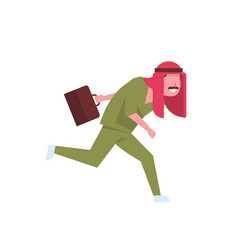 Arab male doctor with briefcase running to patient vector