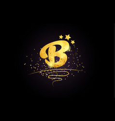 B letter alphabet icon design with golden star vector