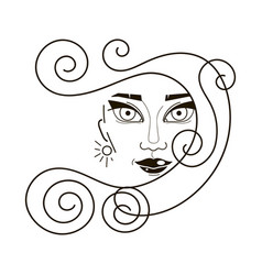 beautiful woman face and hair fashion icon vector image