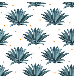 Blue agave seamless pattern background for vector
