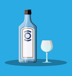 Bottle gin with shot glass gin alcohol drink vector