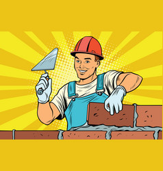 Builder brickwork construction and repair vector