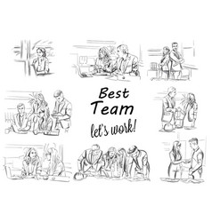 Business team working storyboard business vector