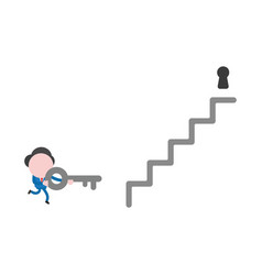 businessman character running and carrying key to vector image