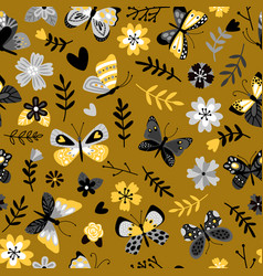 butterflies and flowers flat seamless vector image
