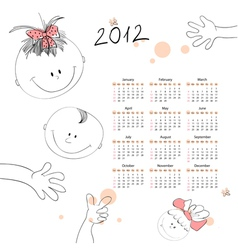 calendar for 2012 with a smalls kids vector image