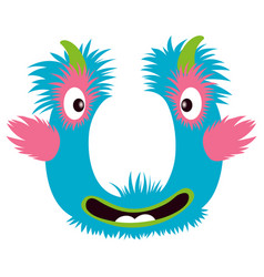 Cartoon capital letter u from monster alphabet vector