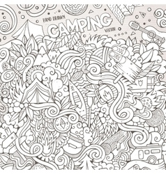 Cartoon hand-drawn doodles camp vector