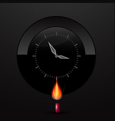 Clock face on black background with lit candle vector