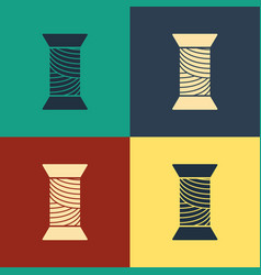 Color sewing thread on spool icon isolated on vector