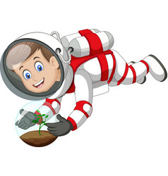 Cool astronaut boy in white red suit uniform vector