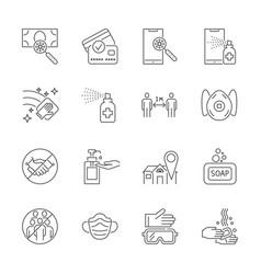 coronavirus protection thin line icons set vector image