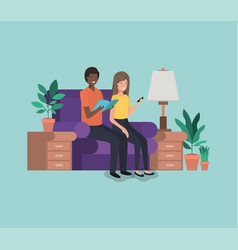 couple on livingroom avatars characters vector image