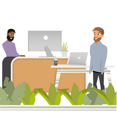 coworking reception man invite to work hipster vector image