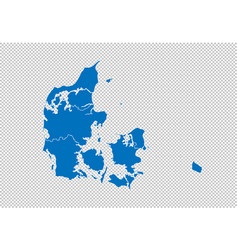 denmark map - high detailed blue map with vector image