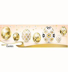 Easter banner with golden eggs and silk ribbon vector