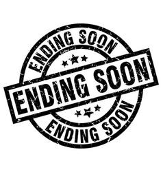 ending soon round grunge black stamp vector image