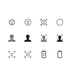 Face scanning icons on white background vector