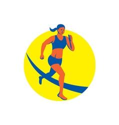 Female Triathlete Marathon Runner Retro vector image