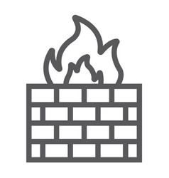 firewall line icon fire and security wall sign vector image
