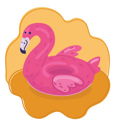 flamingo inflatable rubber circle vector image
